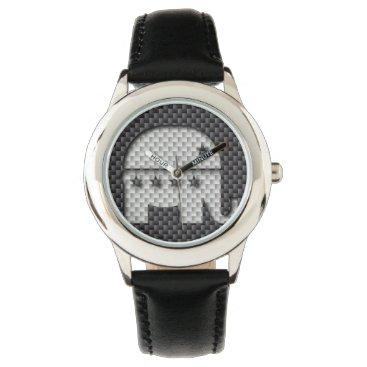 Beach Themed Carbon Fiber Elephant Republican Party Symbol Wrist Watches