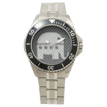Beach Themed Carbon Fiber Elephant Republican Party Symbol Wristwatches