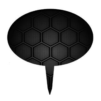 Carbon Fiber Hex Tiles Cake Toppers