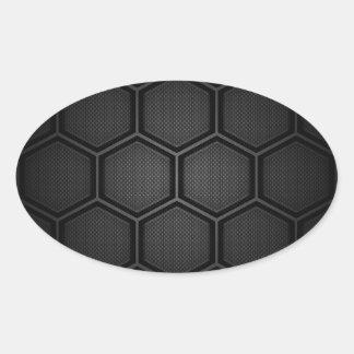 Carbon Fiber Hex Tiles Oval Sticker