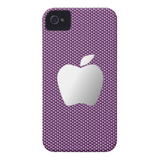 Carbon Fiber iPhone 4/4S Case (Purple with Apple) iPhone 4 Cover