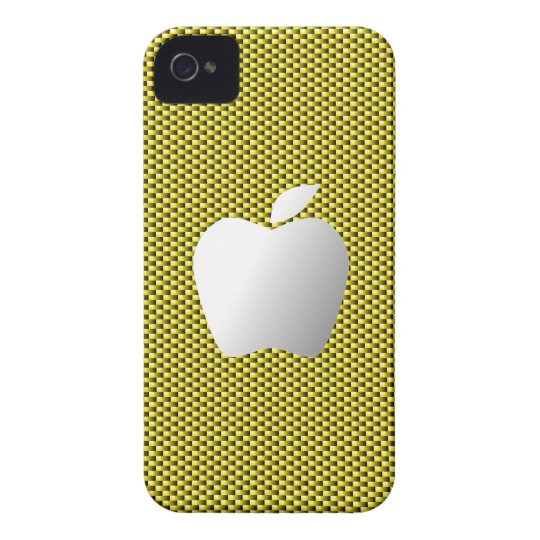 Carbon Fiber iPhone 4/4S Case (Yellow with Apple)