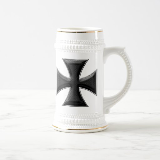 Carbon Fiber Iron Cross - Black Coffee Mugs