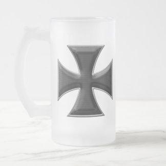 Carbon Fiber Iron Cross - Black Frosted Glass Beer Mug