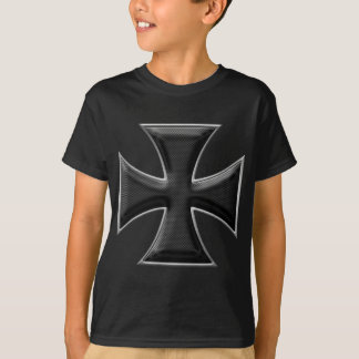 Carbon Fiber Iron Cross - Black T-Shirt