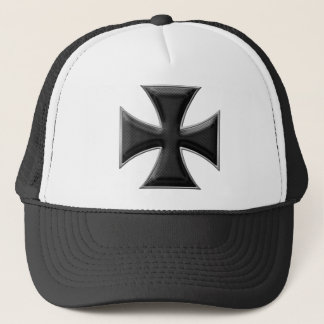 Carbon Fiber Iron Cross - Black Trucker Hat