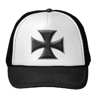Carbon Fiber Iron Cross - Black Trucker Hat
