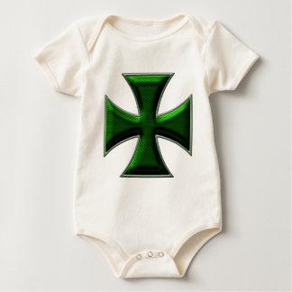 Carbon Fiber Iron Cross - Green Baby Bodysuit