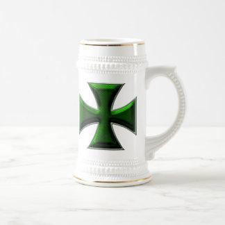 Carbon Fiber Iron Cross - Green Beer Stein