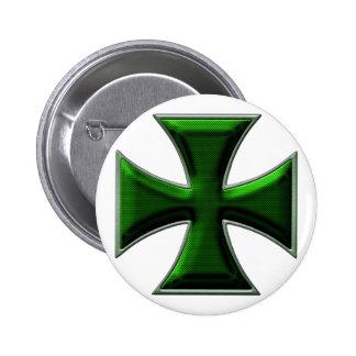 Carbon Fiber Iron Cross - Green Pinback Button