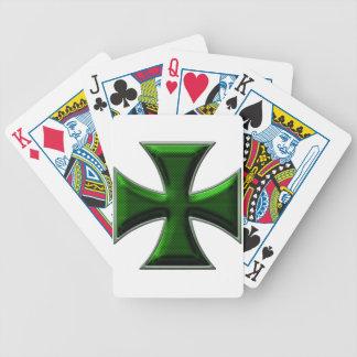 Carbon Fiber Iron Cross - Green Poker Cards
