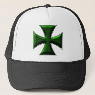 Carbon Fiber Iron Cross - Green Trucker Hat