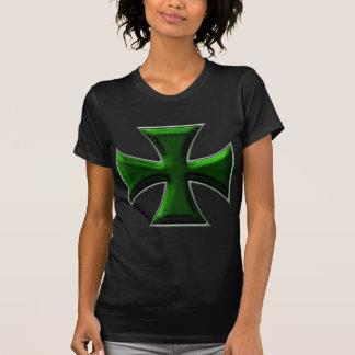 Carbon Fiber Iron Cross - Green T-shirts