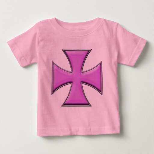 Carbon Fiber Iron Cross - Pink Baby T-Shirt