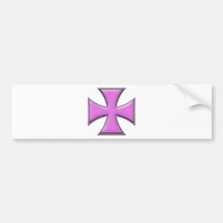 Carbon Fiber Iron Cross - Pink Bumper Sticker