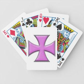 Carbon Fiber Iron Cross - Pink Bicycle Poker Cards