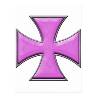 Carbon Fiber Iron Cross - Pink Postcard