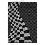 Carbon Fiber Like Racing Flag Wave Print Card