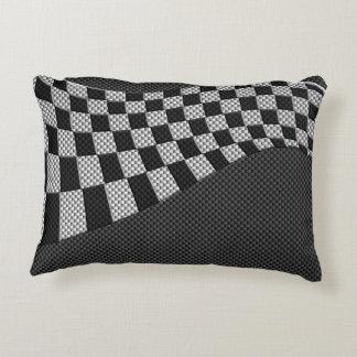 Carbon Fiber Like Racing Flag Wave Print Decorative Pillow