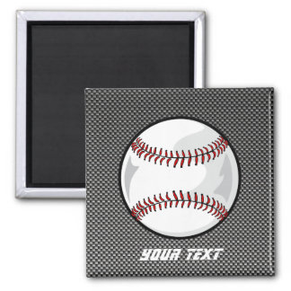 Carbon Fiber look Baseball 2 Inch Square Magnet