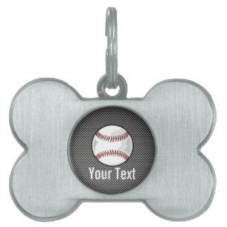 Carbon Fiber look Baseball Pet ID Tags