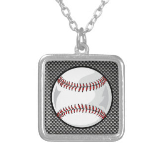 Carbon Fiber look Baseball Silver Plated Necklace