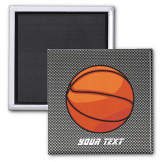 Carbon Fiber look Basketball 2 Inch Square Magnet