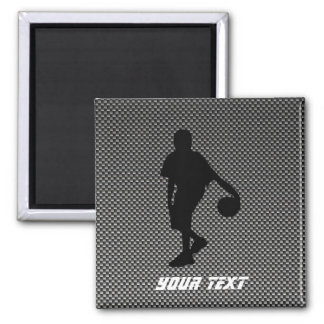Carbon Fiber look Basketball Player 2 Inch Square Magnet