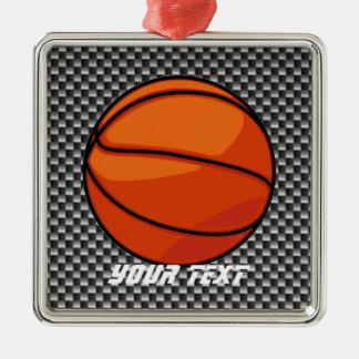 Carbon Fiber look Basketball Square Metal Christmas Ornament