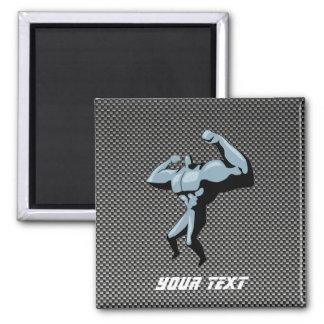 Carbon Fiber look Bodybuilder 2 Inch Square Magnet
