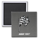 Carbon Fiber look Checkered Flag 2 Inch Square Magnet