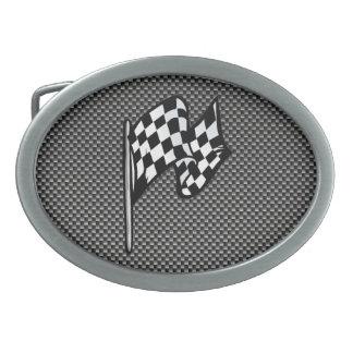 Carbon Fiber look Checkered Flag Belt Buckle