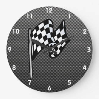 Carbon Fiber look Checkered Flag Clock