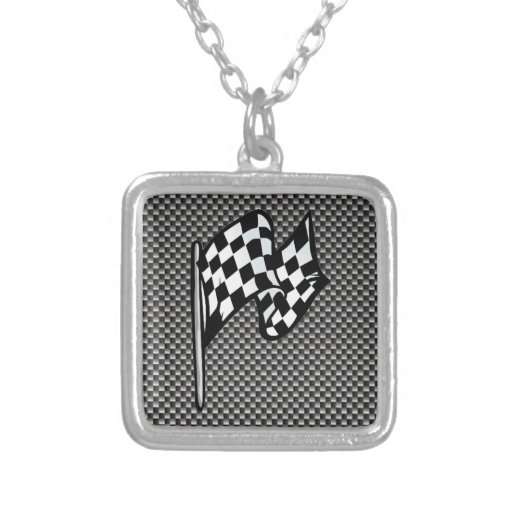 Carbon Fiber look Checkered Flag Custom Jewelry