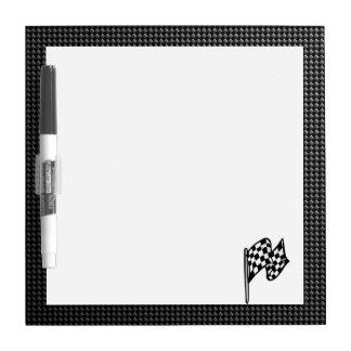 Carbon Fiber look Checkered Flag Dry-Erase Board