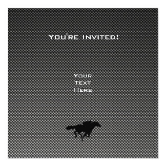 Carbon Fiber look Checkered Flag Personalized Invitations