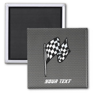 Carbon Fiber look Checkered Flag Magnet