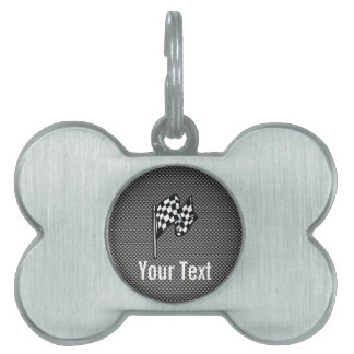 Carbon Fiber look Checkered Flag Pet ID Tag