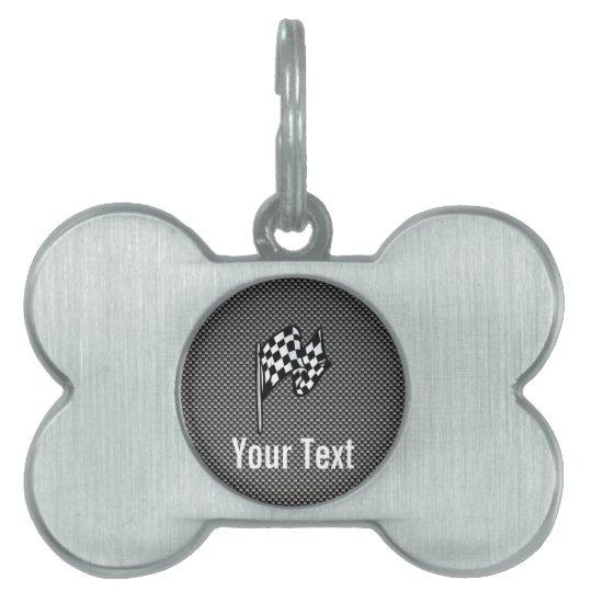 Carbon Fiber look Checkered Flag Pet ID Tag