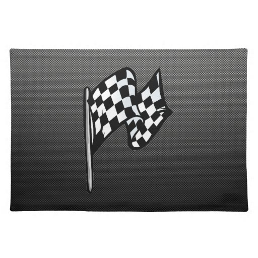 Carbon Fiber look Checkered Flag Placemats