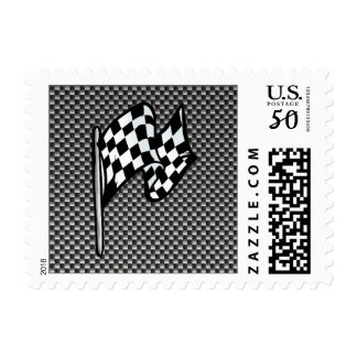 Carbon Fiber look Checkered Flag Postage