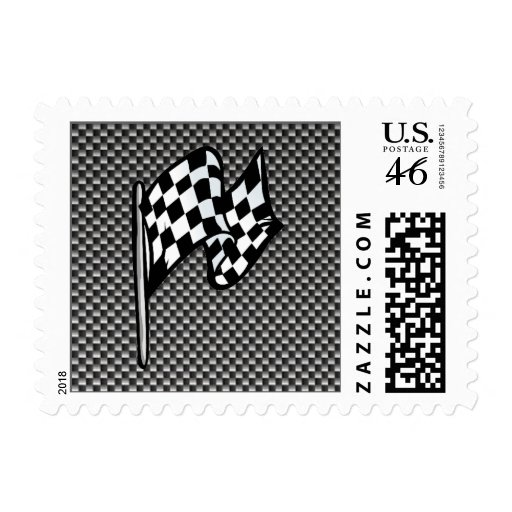 Carbon Fiber look Checkered Flag Postage Stamp