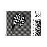 Carbon Fiber look Checkered Flag Postage Stamp