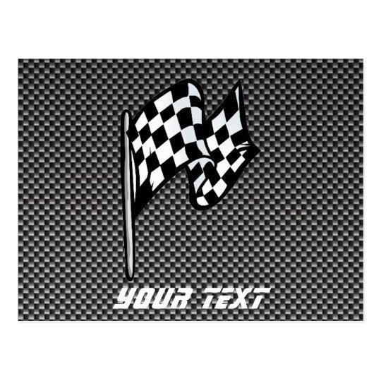 Carbon Fiber look Checkered Flag Postcard