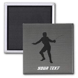 Carbon Fiber look Fencing Silhouette 2 Inch Square Magnet