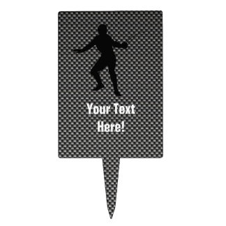 Carbon Fiber look Fencing Silhouette Rectangle Cake Pick