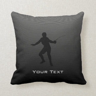 Carbon Fiber look Fencing Silhouette Throw Pillows