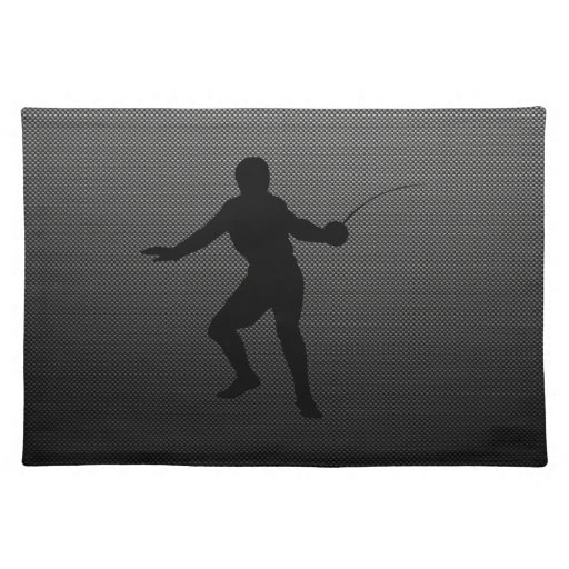 Carbon Fiber look Fencing Silhouette Placemats