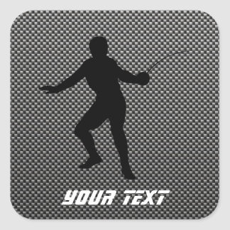 Carbon Fiber look Fencing Silhouette Square Sticker