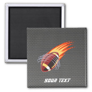 Carbon Fiber look Flaming Football 2 Inch Square Magnet